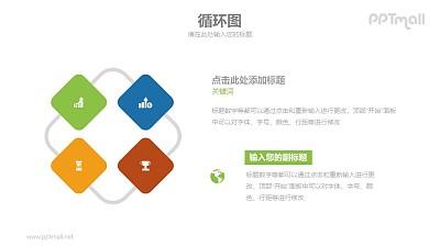 4部分并列关系示意PPT模板素材