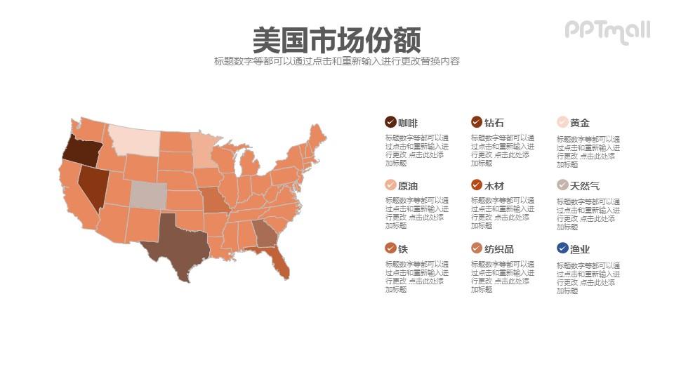 美国市场份额报告即下即用PPT素材模板下载