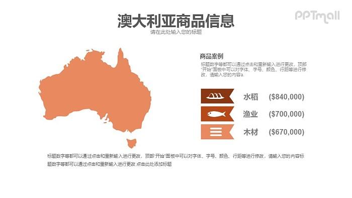 澳大利亚地图PPT模板下载