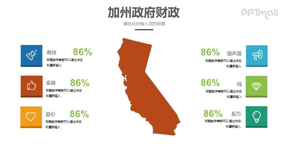 美国加州地图PPT模板素材