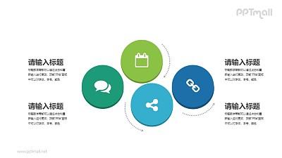 4个并列关系的圆圈PPT素材下载