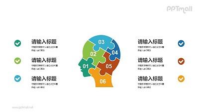 由拼图组成的大脑PPT素材下载