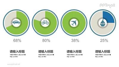 表示不同占比/百分比的饼图PPT素材下载