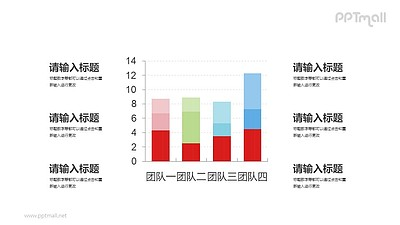 多彩色柱状图PPT素材下载