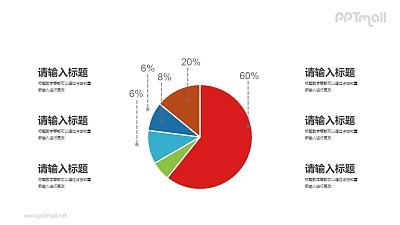 醒目显眼的饼图PPT素材下载