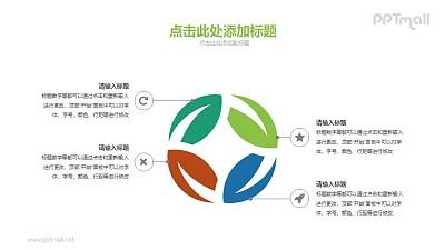 四篇叶子组成的PPT图示素材下载