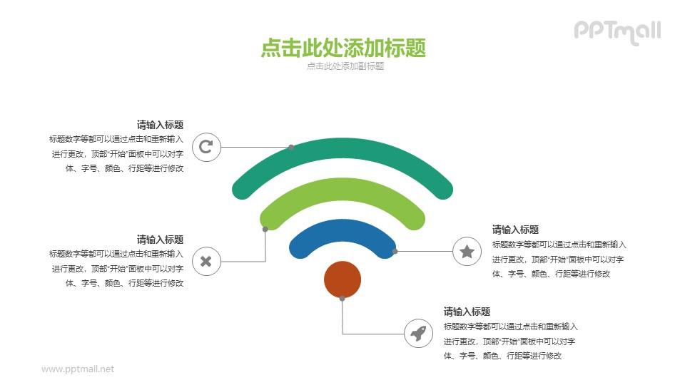 超大的wifi信号PPT图示素材下载