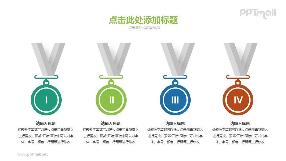 4个不同奖项的奖牌PPT素材下载