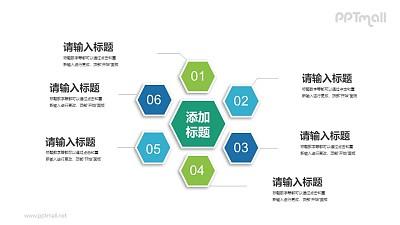 6部分蜂窝结构总分关系PPT素材下载