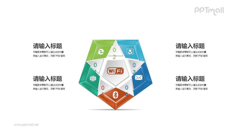 五星和五边形合体的PPT图示素材下载