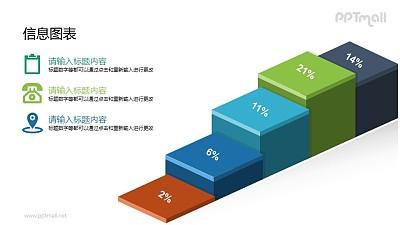 彩虹色的立体柱状图(阶梯状)PPT素材下载