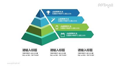 4层立体金字塔图文说明PPT素材下载