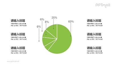 绿色的饼图PPT素材下载