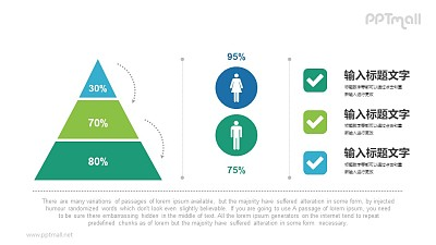 金字塔/男女比例/数据展示PPT素材下载