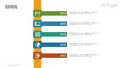 纵向时间线/时间轴PPT图示素材下载