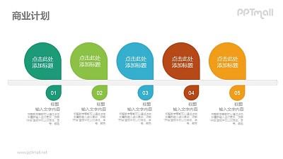 5部分彩色要点列表PPT素材下载