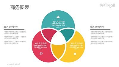 三个相交的圆组成的并列关系PPT图示素材下载