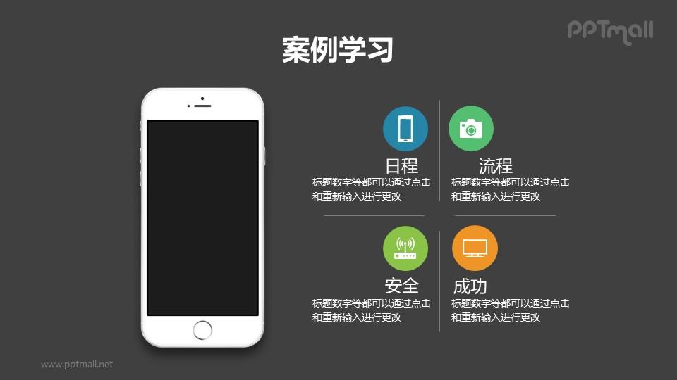 带苹果手机样机的4部分文字说明/目录导航/要点列表PPT模板下载