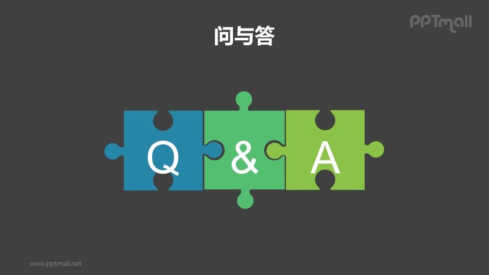 拼图组成的QA问与答/提问页PPT模板下载