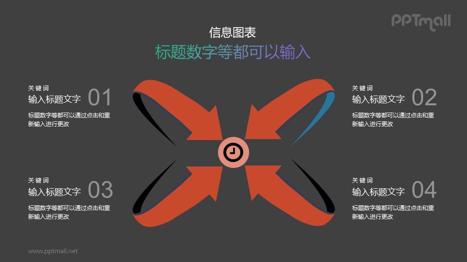 四个指向中心点的箭头PPT素材下载
