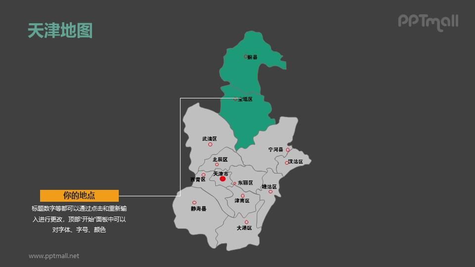 天津地图-整套矢量可编辑的中国地图PPT模板素材下载
