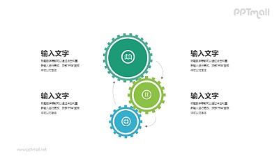 三个运转的齿轮结构PPT图示素材下载