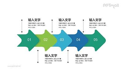五个并排的圆滑箭头图示PPT素材下载