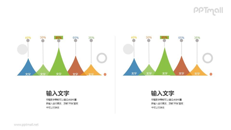 两组创意的柱状图对比关系PPT图示素材下载