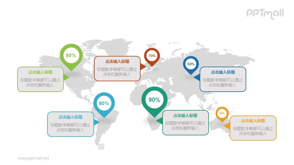 世界各地/不同国家的数据分析PPT图示素材下载