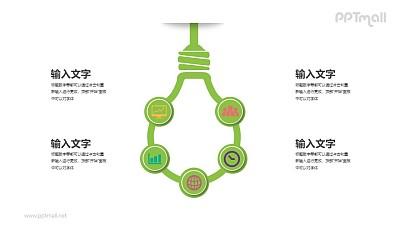 电灯泡的5部分说明PPT图示素材下载