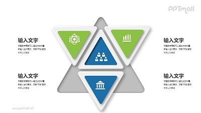 4个三角形组合PPT图示素材下载