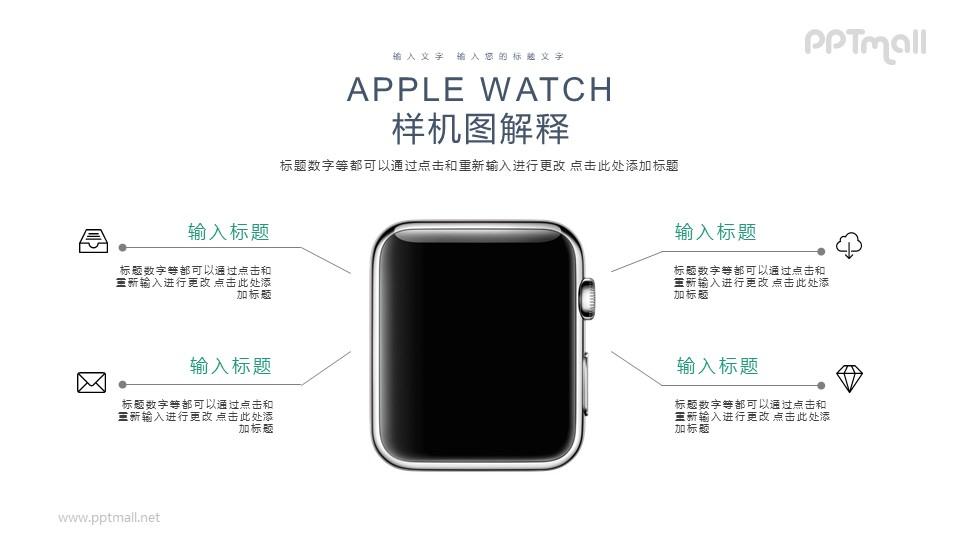苹果手表样机图PPT模板下载