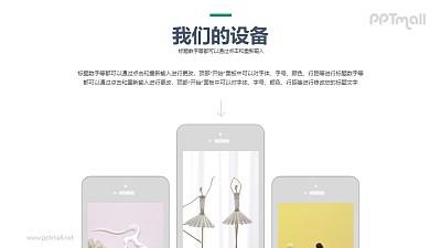 3个长短不一的手机屏幕样机图PPT模板下载