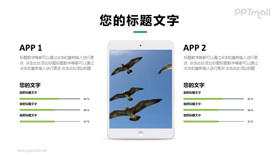 iPad屏幕数据展示样机图PPT模板下载