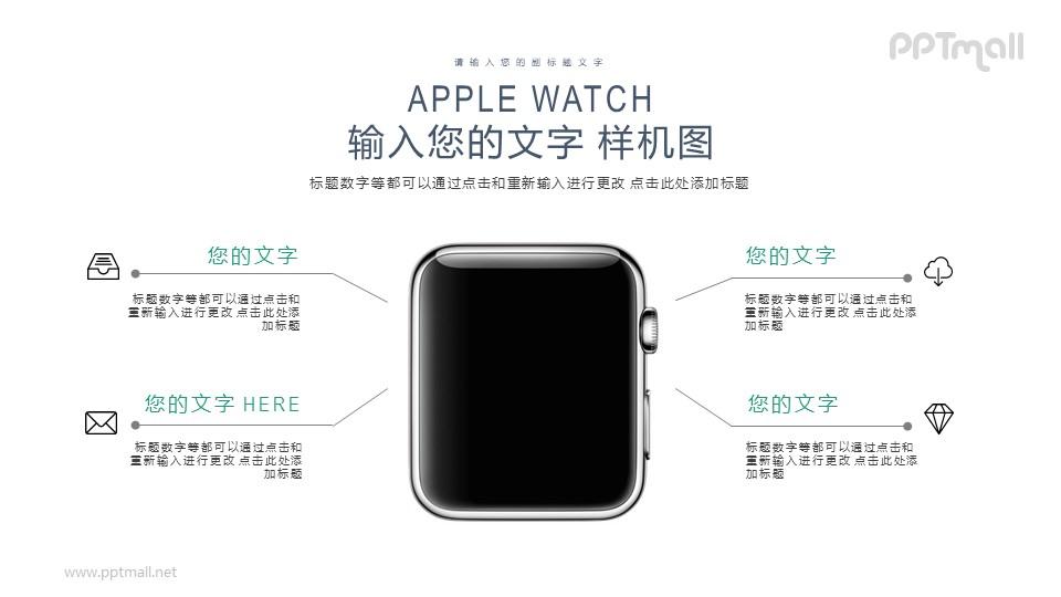 苹果智能手表屏幕样机展示图PPT模板下载