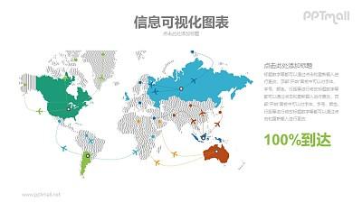 错综复杂的世界飞机航线图PPT模板下载