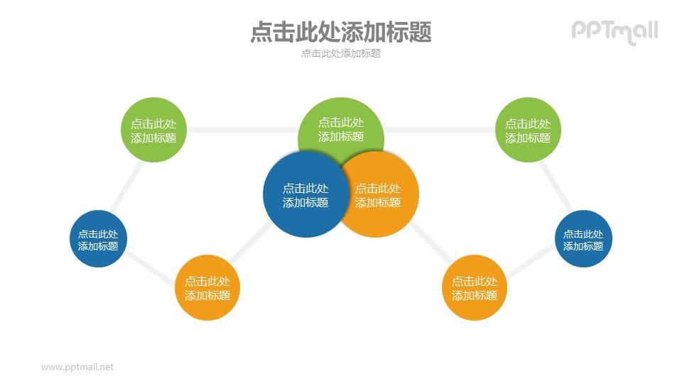 用线条链接在一起的圆圈PPT模板下载