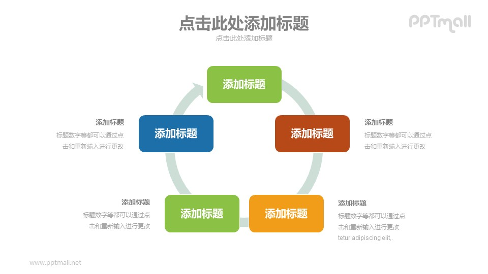 带箭头的循环关系图PPT模板下载