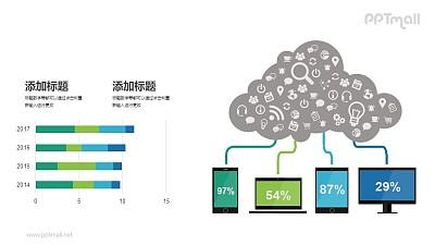 多终端云设备PPT示意图模板下载