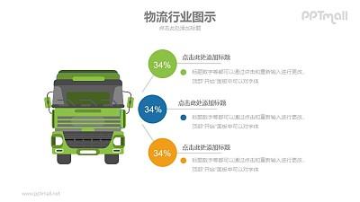 物流大货车PPT矢量图示素材模板下载