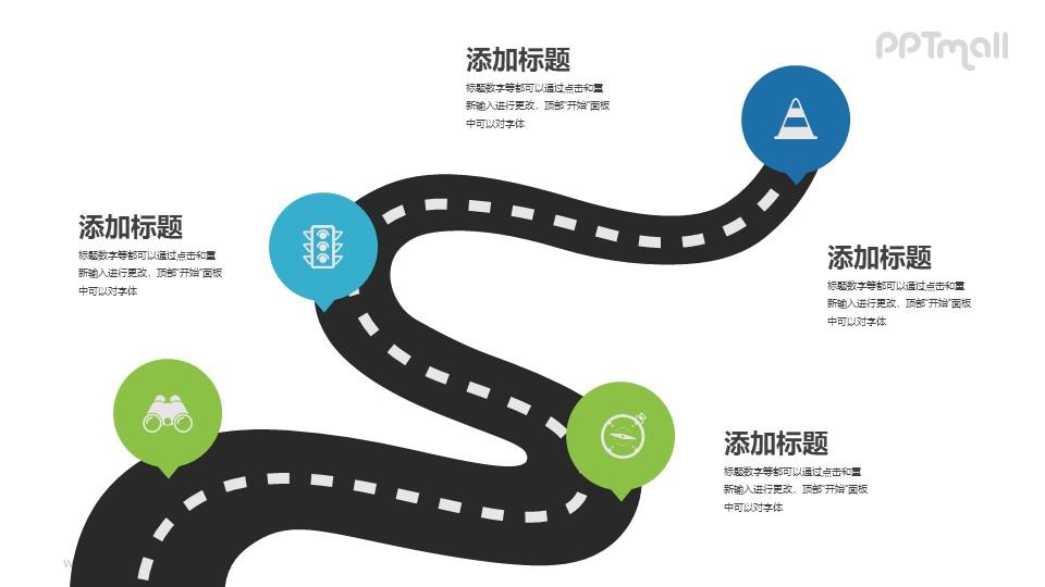 物理送货路径图PPT模板下载