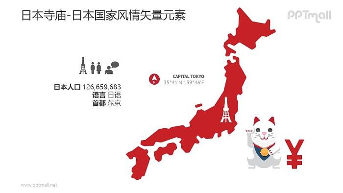 日本地图PPT模板下载