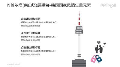 N首尔塔(南山塔)展望台-韩国国家风情PPT图像素材下载