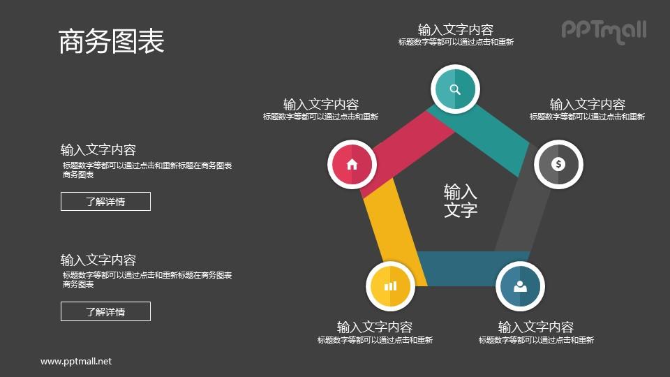 五部分连接在一起组成五边形的PPT图示素材下载