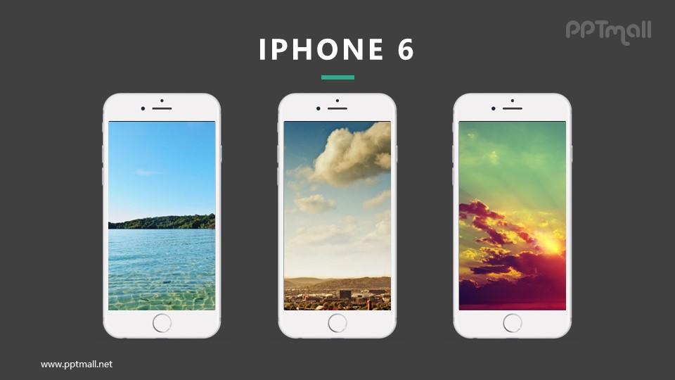 3台iphone展示样机图PPT模板下载_幻灯片预览图2