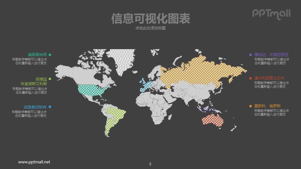 世界地图PPT可视化数据图表模板下载