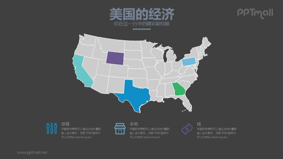 美国的经济分析PPT模板下载