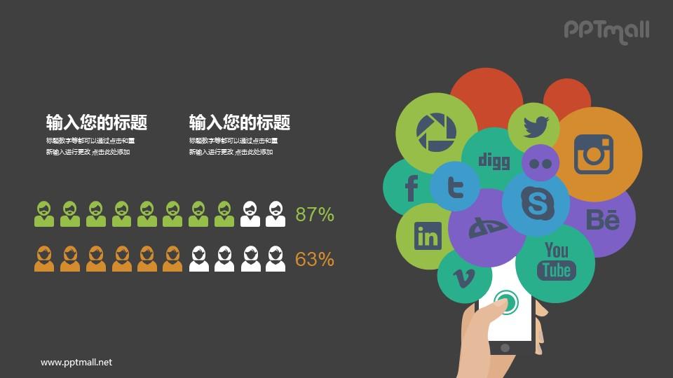 社交网络男女用户收据展示PPT素材模板下载