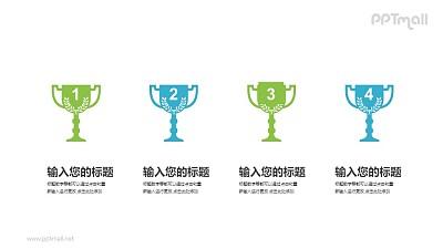4个奖杯PPT图示素材模板下载