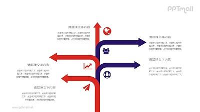 树状带分叉箭头的时间轴PPT素材模板下载